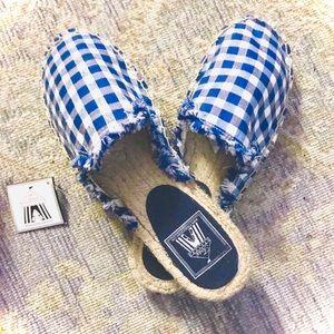 NWOB! TOSS Boutique Blue Gingham Espadrille Slides